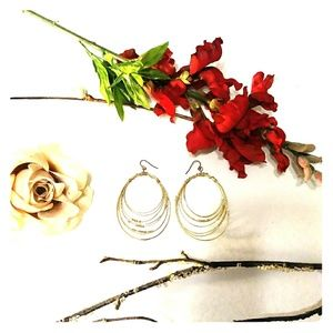 Jewelry - Gold Tone Beaded Hoop Earrings